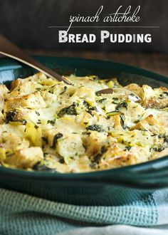 Spinach Artichoke Bread Pudding - This creamy, cheesy bread pudding full of diced artichokes and chopped spinach is the perfect way to use up that stale bread in your cupboard and turn it into a yummy, flavor-packed side dish.   justalittlebitofbacon.com