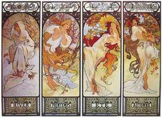 """Les Saisons"" (The Seasons) by French Art Nouveau poster artist Alphonse Mucha Art Nouveau, Illustrator, Alphonse Mucha Art, Kunst Poster, Belle Epoque, Figurative Art, Framed Art Prints, Framed Wall, Wall Art"