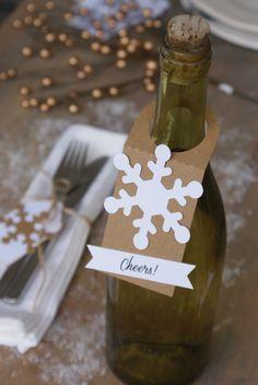 Flessenhals label met sneeuwvlok