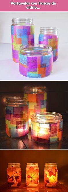 â–· Candle holder with glass jars. Crafts with glass jars. Crafts With Glass Jars, Jar Crafts, Quick Crafts, Diy And Crafts, Conkers Craft, Reuse Plastic Bottles, Diy Candles, Diy Room Decor, Decoupage