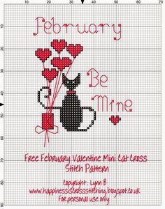 Mini cat Valentine cross stitch pattern by Lynn B
