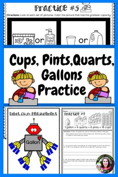 Cups, Pints, Quarts, Gallons PRACTICE  This set includes 11 pages of practice on cups, pints, quarts and gallons and a Robot Guy visual to help students.  I've included answer keys, too! #2ndgrade, #3rdgrade, #1stgrade, #measurement, #math, #morningwork, #assessment