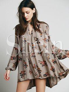 Grey Long Sleeve Floral Dress 17.59
