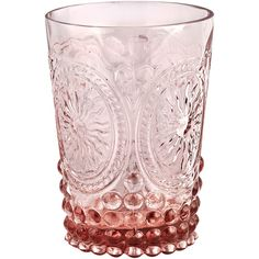 Soleil Glass Tumblers (set Of 6) In Pink (725 UAH) ❤ liked on Polyvore featuring home, kitchen & dining, drinkware, pink, glass tumbler, glass drinkware, pink glass tumblers and pink tumbler