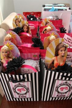 Barbie Theme: The Party Bags. I can't wait till I have a little girl one day and throw her a Barbie party if she doesn't absolutely LOVE Barbie I think I will die inside !