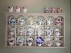 tea cups and saucers wall display shelves Tea Cup Display, Vintage Cups, Vintage Plates, Vintage China, China Display, Teapots And Cups, China Tea Cups, My Cup Of Tea, Or Antique