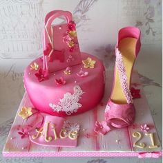 Pink strappy shoe cake