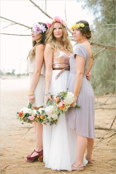 Bohemian bridesmaids looks with floral crowns. #bridesmaids #bohemianwedding #weddingchicks Captured By: Vis Photography ---> http://www.weddingchicks.com/2014/05/05/southwestern-inspired-wedding/