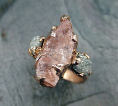 Raw Morganite Diamond Rose Gold Engagement Ring Wedding Ring Custom One Of a Kind Gemstone Ring Bespoke Three stone Ring byAngeline by byAngeline on Etsy