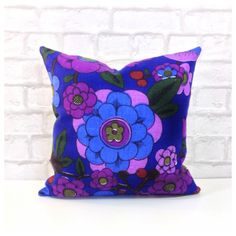 Cushion Cover Vintage 70s Funky Floral Fabric Purple Retro Kitsch