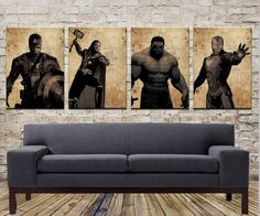 The avengers alliance, iron man, the incredible hulk, captain America, thor, canvas painting, Canvas painting Print size (40 x 60cm) on Etsy, $110.00
