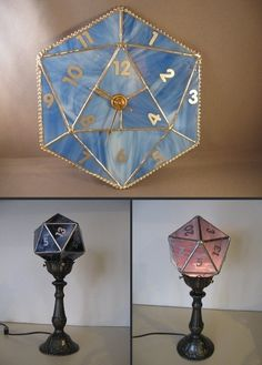 Beautiful stained glass dice decor.