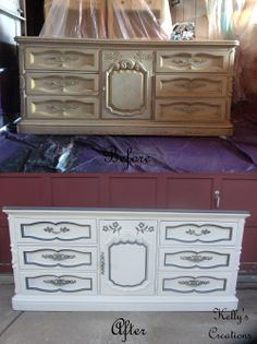 Vintage carved dresser painted white with dark gray trim before and after pictures. Refinished by Kelly's Creations. https://www.facebook.com/KellysCreationsFurniture