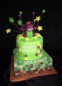 Barney and Minecraft joint Birthday cake