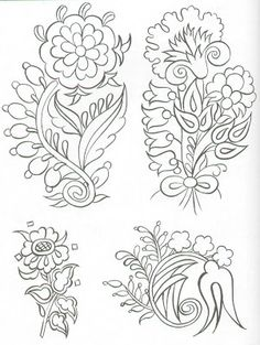 Nice folk art floral embroidery patterns ideas from 29 Folk Art Floral Embroidery Patterns Jacobean Embroidery, Floral Embroidery Patterns, Crewel Embroidery, Embroidery Designs, Flower Patterns, Art Floral, Bordado Popular, Tattoo Design Drawings, Tattoo Designs