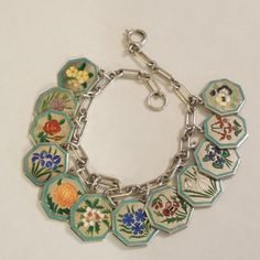 TLM Thomas L Mott Flower of the Month Sterling Silver and Enamel Charm Bracelet The Big O, $3,499 USD Offer