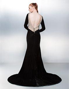 Trumpet/Mermaid Bateau Chapel Train Velvet Evening Dress (2067614) – USD $ 179.99