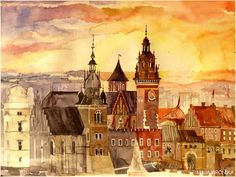 Watercolor Cityscapes by Maja Wronska - Krakow Poland - I want all of her cityscapes in my possession!