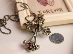 1Pc wholesale Korean Style 28 Brown Crystal Vintage Bronze Cross Chain Necklace