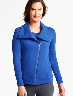 Fashion meets function in our Brushed Asymmetrical-Zip Jacket.