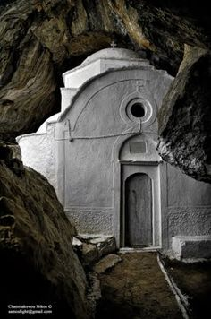 The Chapel of Panagia Makrini in Samos - is built within a cave, probably some time during the 10th century and was added onto through the years. Inside the cave human bones were discovered and it's suspected that they probably belonged to those who resided there. The chapel was part of a larger monastery and according to Patriarchal Sigillion from 1816, it belonged to the Monastery of Saint George Sinai in Monidrion of Kastania.