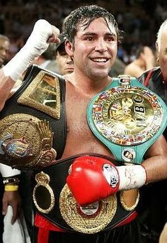 "Oscar de la Hoya started boxing at the age of six. After winning an Olympic gold medal in 1992, De La Hoya turned pro and won his first world title in 1995. In 2004, De La Hoya became the first boxer in history to win world titles in six different weight classes, and his model looks and great talent earned him the nickname ""Golden Boy."""