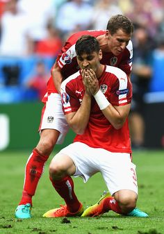 #EURO2016 Aleksandar Dragovic of Austria shows his despair after missing a penalty during the UEFA EURO 2016 Group F match between Iceland and Austria at Stade...