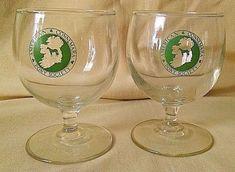 AMERICAN CONNEMARA PONY SOCIETY GLASS SET 2 BRANDY BARWARE PEDESTAL GREEN HORSE #Unbranded