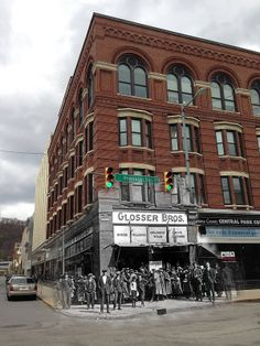 Glosser Brothers store then and now. Old pic from JAHA superimposed over mine. Johnstown Pennsylvania, Johnstown Flood, Pennsylvania History, Then And Now Photos, Interesting History, Old Pictures, Small Towns, Old Houses, Just In Case