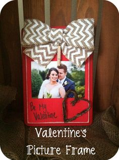 Rustic Valentine's Day Picture Frame - Valentine's Gift - Distressed Frame