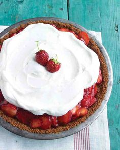 Strawberry Icebox Pie - This pie is a real showstopper, with glazed strawberries peeking out from underneath a snowy crown of whipped cream. The sweetness of the graham cracker crust and strawberries is nicely balanced by the bit of tartness from cranberry juice in the glaze.