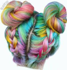 Hair color rainbow braids ideas for 2019 Rainbow Braids, Rainbow Hair, Hair Color Purple, Cool Hair Color, Space Buns Hair, Inverted Braid, Hair Chalk, Cool Braids, Unicorn Hair