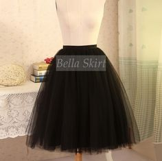 Black tulle skirt, black adult tulle skirt