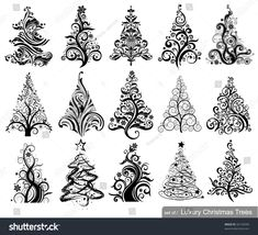 Set of Luxury Christmas Trees. 15 designs in one file. To see similar sets visit my gallery