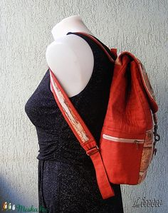 Textil hátizsák tégla mintázatú anyagból (Lintu) - Meska.hu Lany, Sling Backpack, Backpacks, Fashion, Moda, Fashion Styles, Backpack, Fashion Illustrations, Backpacker