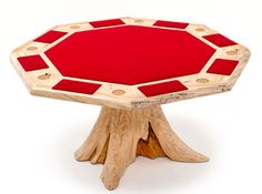This unique log card table is handcrafted from natural live edge slabs and a beautiful cedar log stump for the base perfect for rustic, cabin, lodge, or mountain decors. Rustic Log Furniture, Cedar Log, Mountain Decor, Pool Tables, Table Cards, Poker Table, Solid Wood, Modern Design, Game