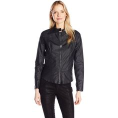 DKNY Jeans Women's Coated Moto Jacket ($30) ❤ liked on Polyvore featuring outerwear, jackets, dkny jeans, biker jacket, motorcycle jacket, moto jacket and dkny jeans jacket