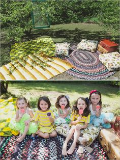 Not sure about the suitcases but I like the idea of putting down blankets and rugs for the kids!