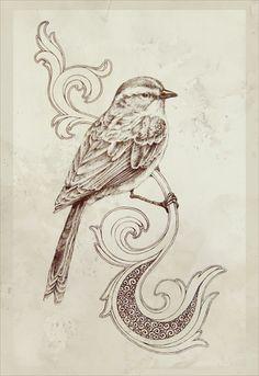 bird perched on a swirl.