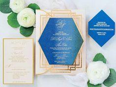Blue and gold glam art deco wedding invitations for Great Gatsby wedding theme Great Gatsby Wedding, Wedding Ideas, Art Deco Wedding Invitations, Tableware, Theme Ideas, Modern, Gold, Blue, Dinnerware