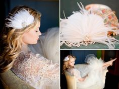 Romantic bridal fascinator with white feather and vintage rhinestone brooch
