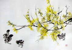 Japanese Ink Painting, Asian art, Sumi-e, Suibokuga, Flower and Birds painting, Rice paper, Yellow Black, Large18x28'Forsythia chicks #2 - pinned by pin4etsy.com