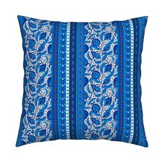 Catalan Throw Pillow featuring Gzhel flowers by argunika | Roostery Home Decor