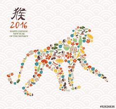 """Download the royalty-free vector """"2016 chinese new year monkey china icon ape"""" designed by cienpiesnf at the lowest price on Fotolia.com. Browse our cheap image bank online to find the perfect stock vector for your marketing projects!"""