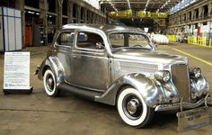 Stainless steel1936 Ford Tudor Sedan built for and owned by Allegheny Ludlum Steel. Only 4 of these cars were ever built. One survives today.  I lived across from that mill for a time.
