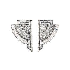 Deco crystal fan earrings