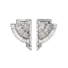 Deco crystal fan earrings
