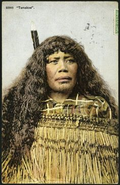 "Oceania: New Zealand, ""Tenakeo"" Maori woman with long hair worn loose, chin moko, flax cloak and huia feather in her hair. Folklore, Postcard Album, Maori Tribe, Polynesian People, Zealand Tattoo, Maori People, Coloured People, Tribal Costume, Nz Art"