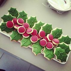 Holly Leaves & Berry Cookies. Christmas.
