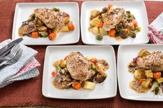 Apple Cider-Glazed Chicken with Roasted Brussels Sprouts, Potatoes & Carrots. Visit https://www.blueapron.com/ to receive the ingredients.